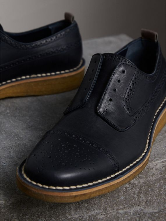 Raised Toe-cap Nappa Leather Brogues in Navy - Men | Burberry - cell image 3