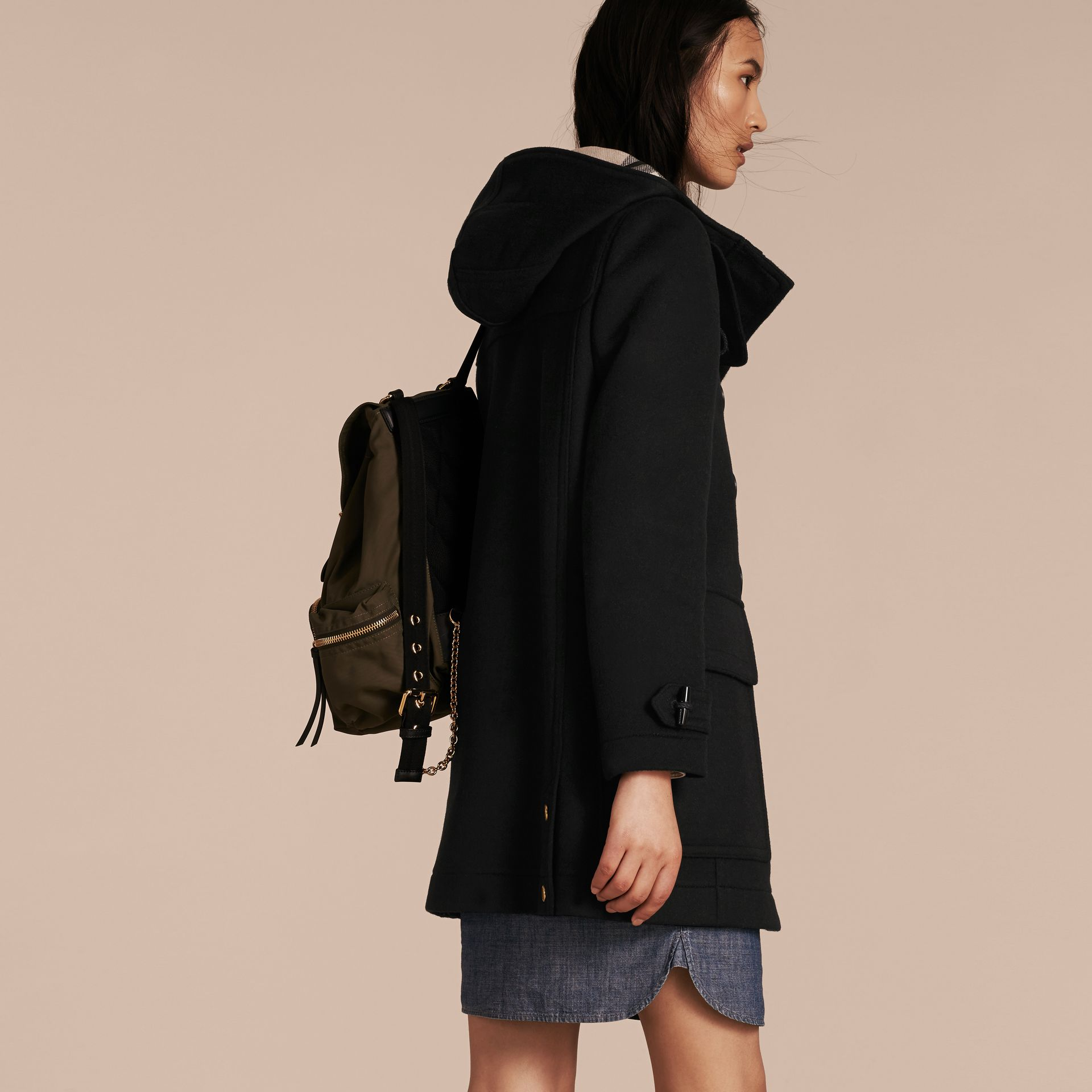 Black Straight Fit Duffle Coat Black - gallery image 3