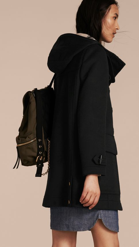 Black Straight Fit Duffle Coat Black - Image 3