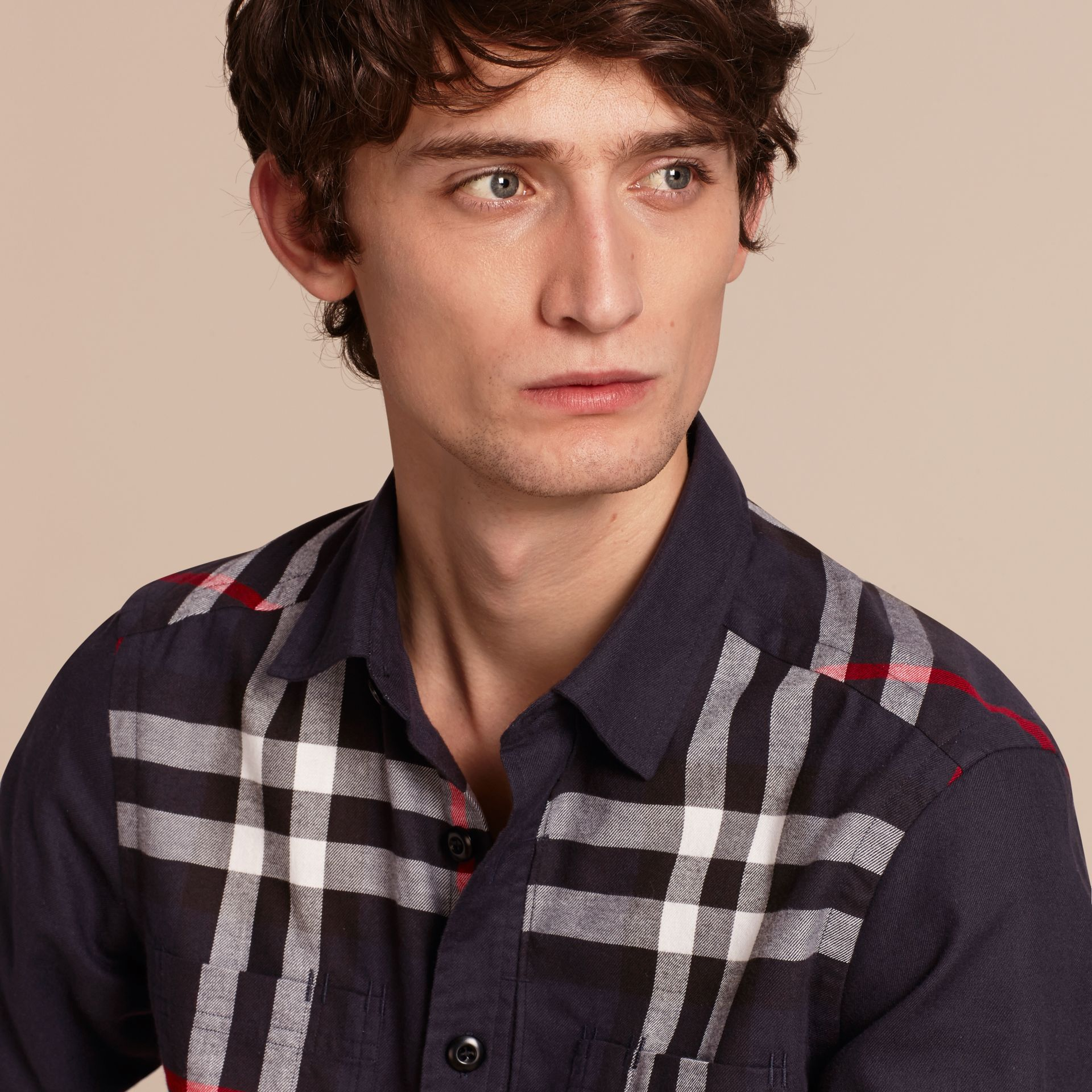 Navy Check Detail Cotton Flannel Shirt Navy - gallery image 5