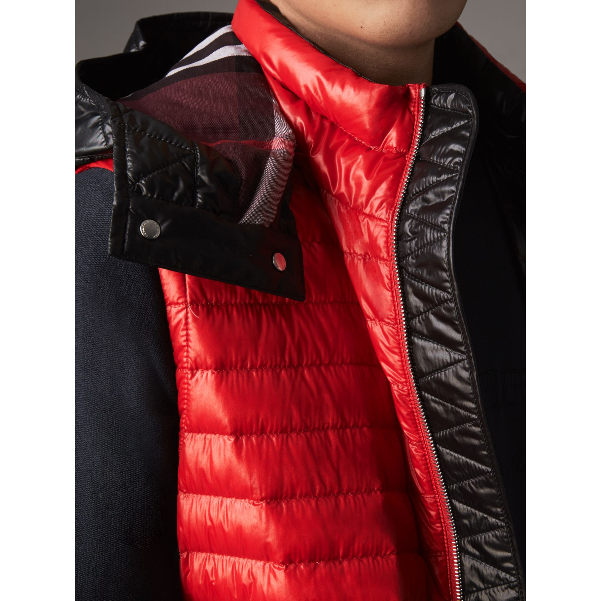 Detachable Hood Packaway Goose-down Gilet in Military Red - Men | Burberry - gallery image 2