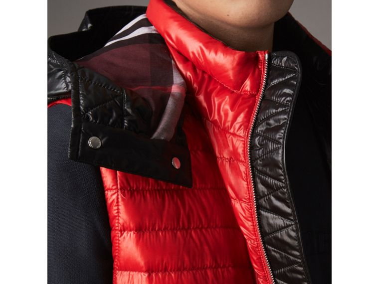 Detachable Hood Packaway Goose-down Gilet in Military Red - Men | Burberry - cell image 1