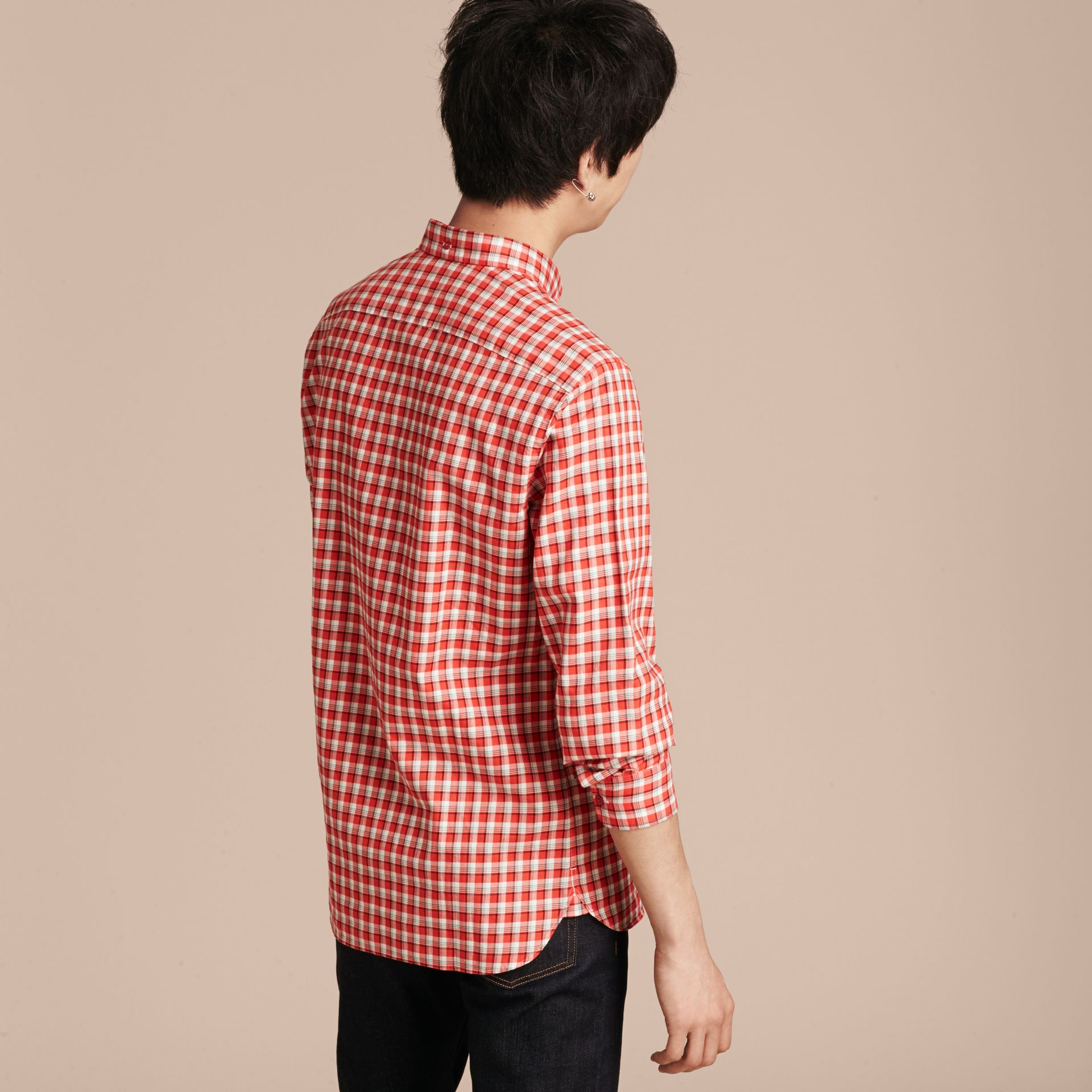 Parade red Gingham Check Cotton Twill Shirt Parade Red - gallery image 3