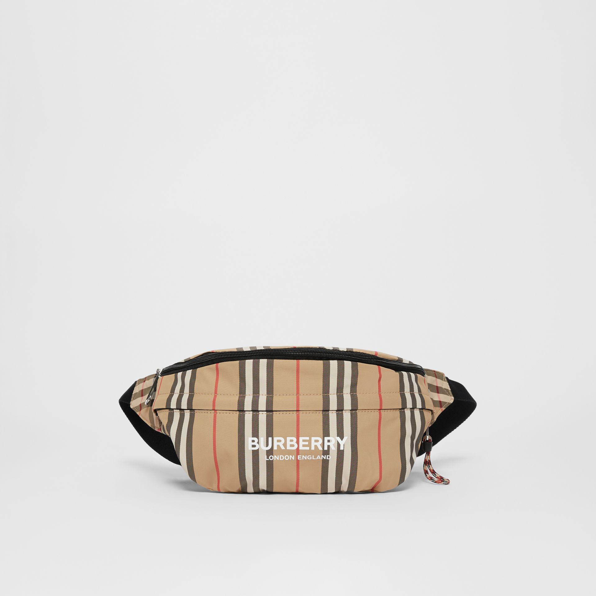 Sac banane convertible à rayures iconiques et Vintage Check (Beige D'archive) - Enfant | Burberry - photo de la galerie 6