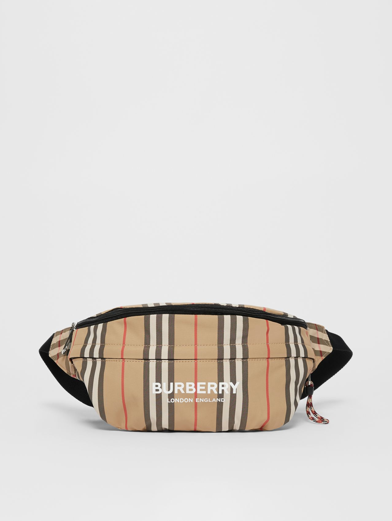 Vintage Check and Icon Stripe Convertible Bum Bag in Archive Beige