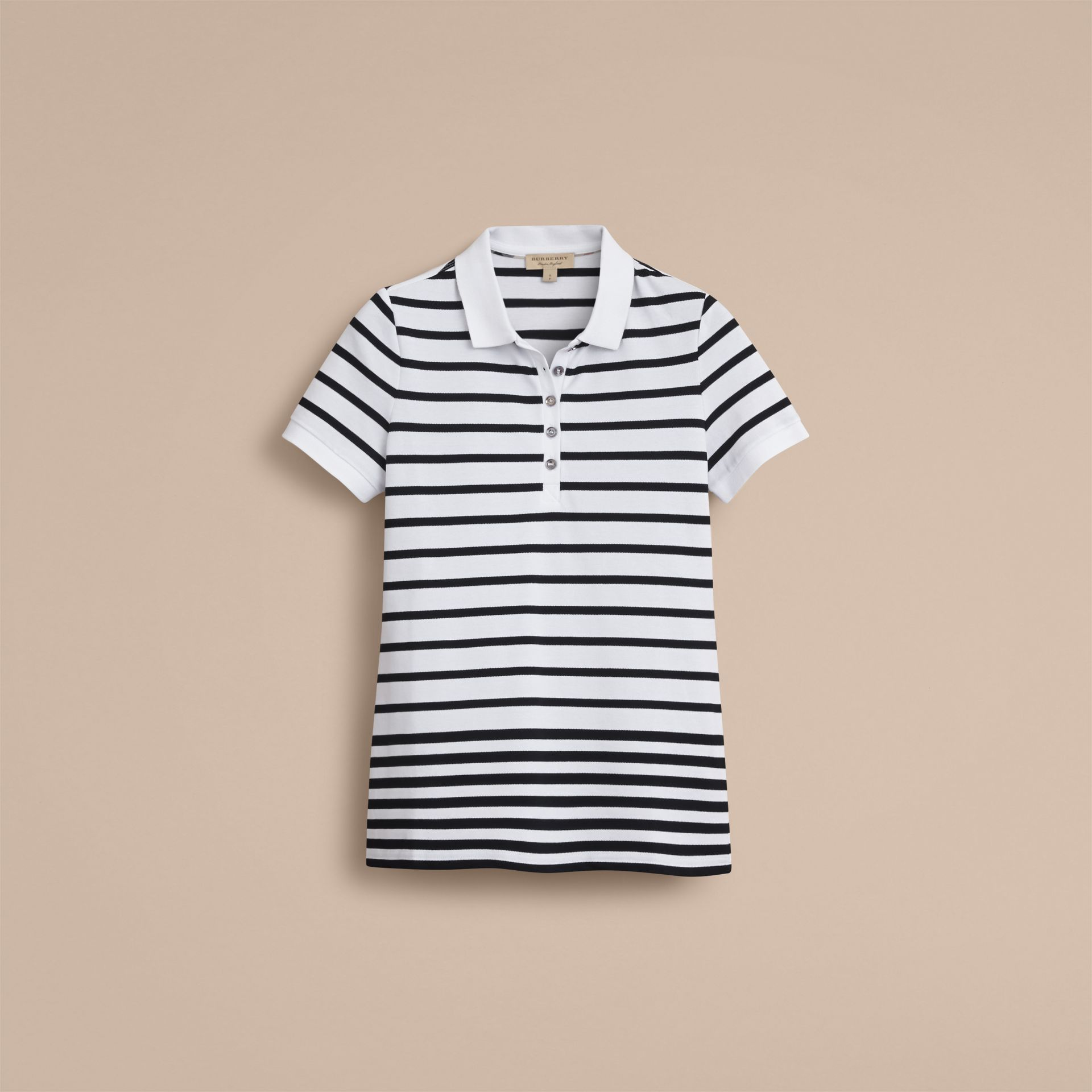 Striped Stretch Cotton Piqué Polo Shirt in White/navy - Women | Burberry - gallery image 4
