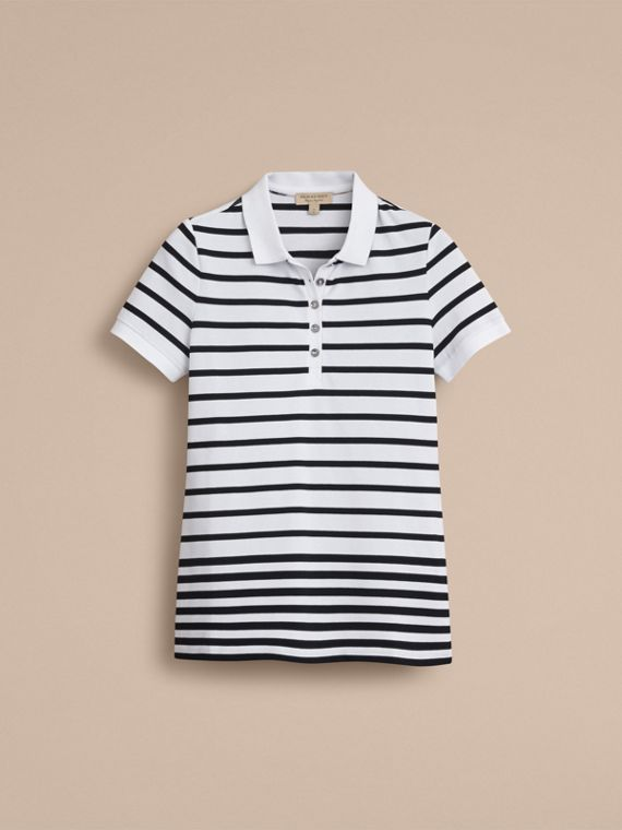 Striped Stretch Cotton Piqué Polo Shirt in White/navy - Women | Burberry Hong Kong - cell image 3