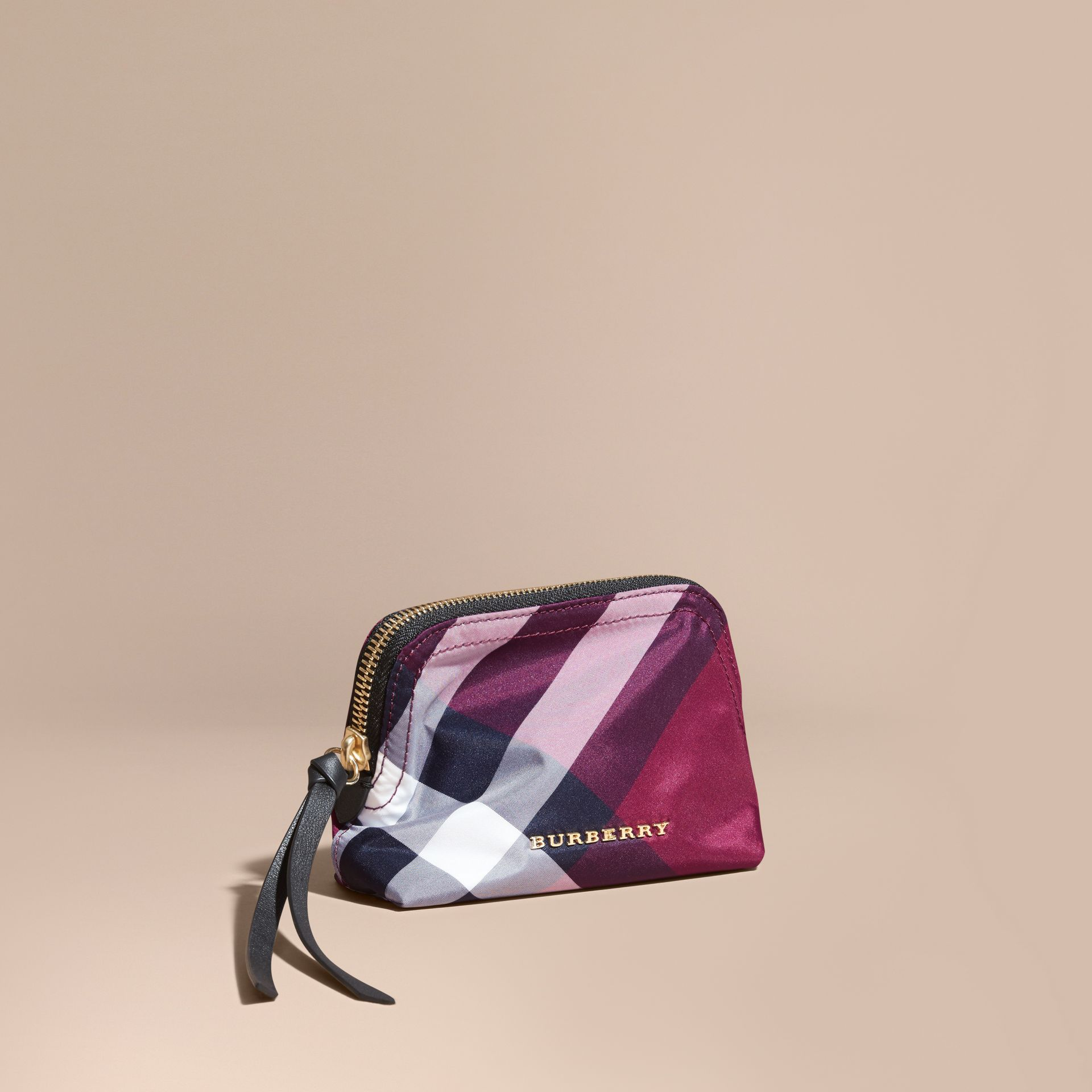 Small Zip-top Check Pouch Plum - gallery image 1