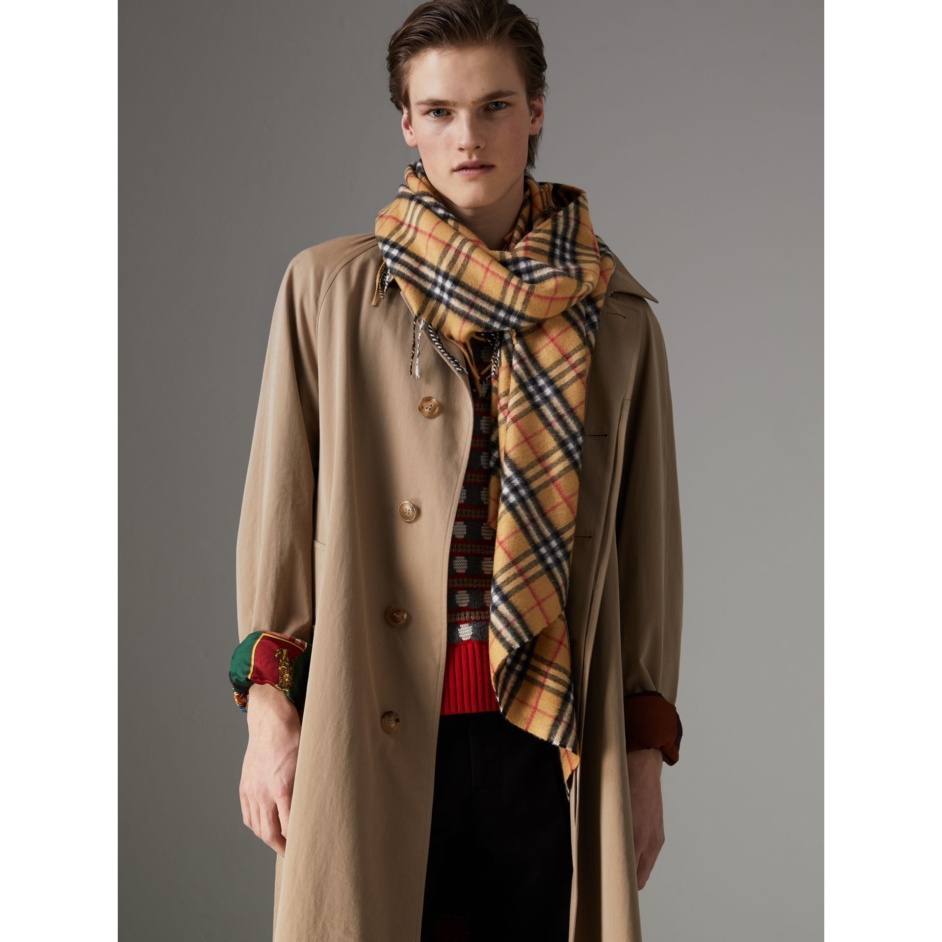 The Burberry Bandana in Vintage Check Cashmere in Antique Yellow | Burberry Australia - gallery image 5
