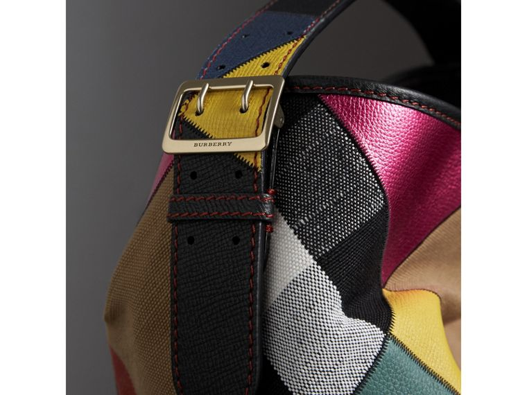 The Medium Ashby in Patchwork Canvas Check and Leather in Teal Blue - Women | Burberry - cell image 1