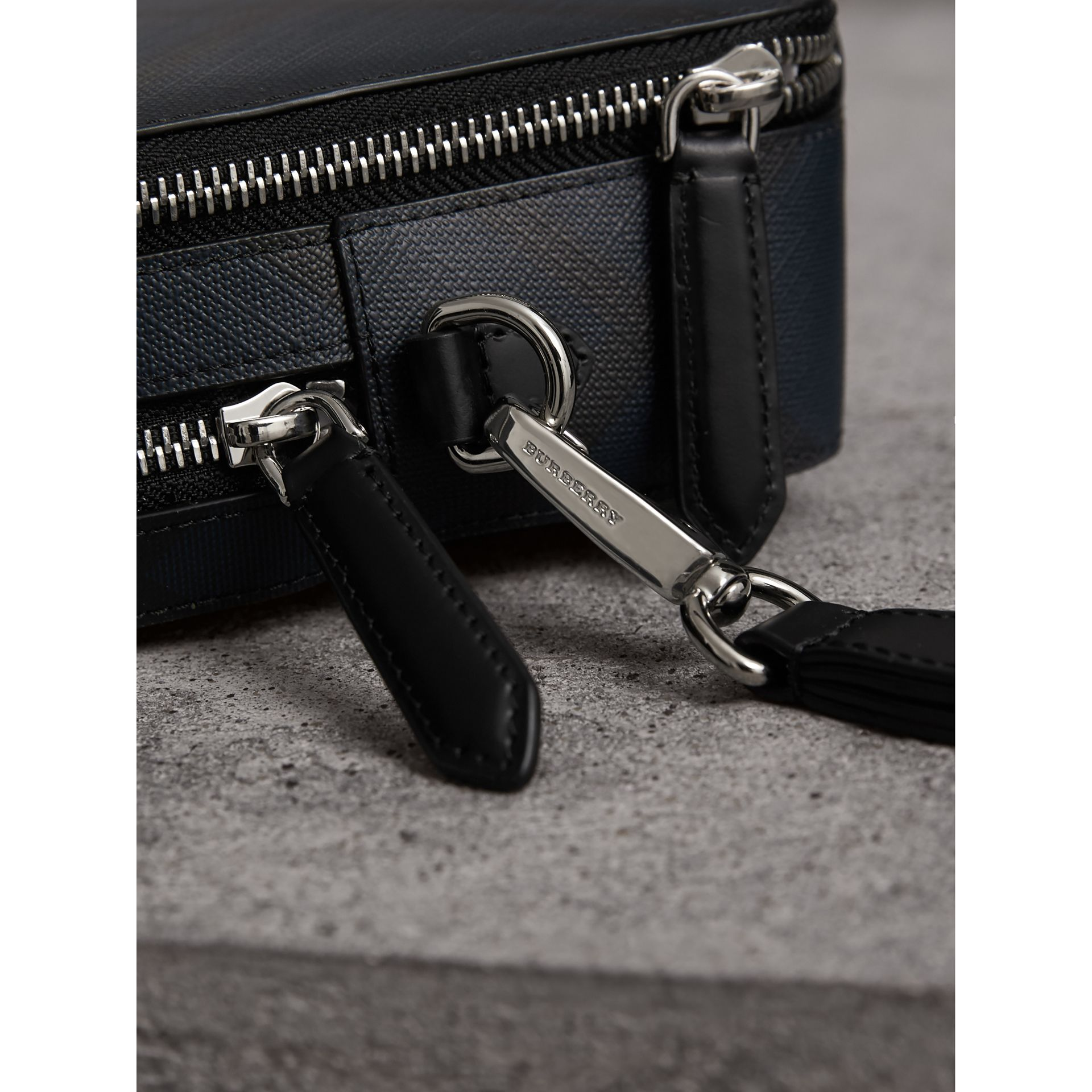 Leather-trimmed London Check Pouch in Navy/black - Men | Burberry - gallery image 1
