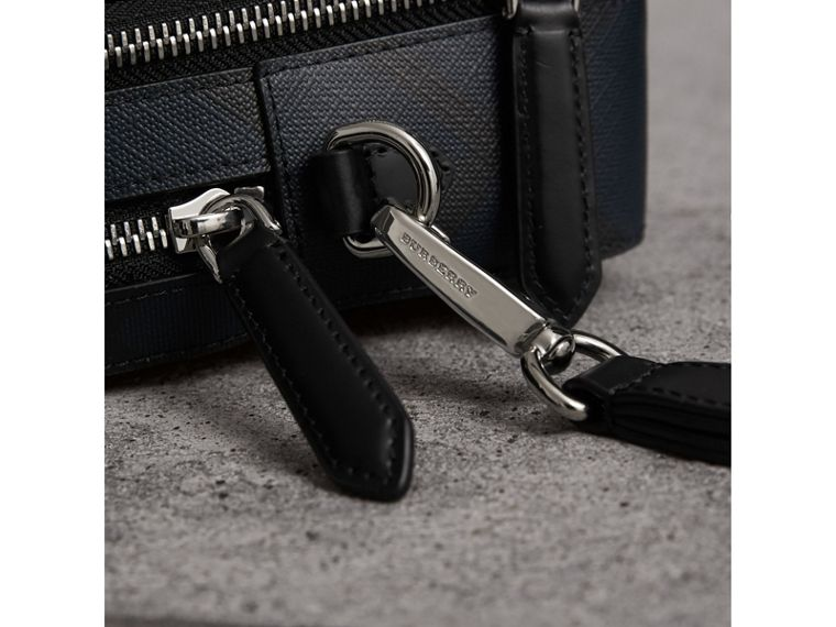 Leather-trimmed London Check Pouch in Navy/black - Men | Burberry - cell image 1