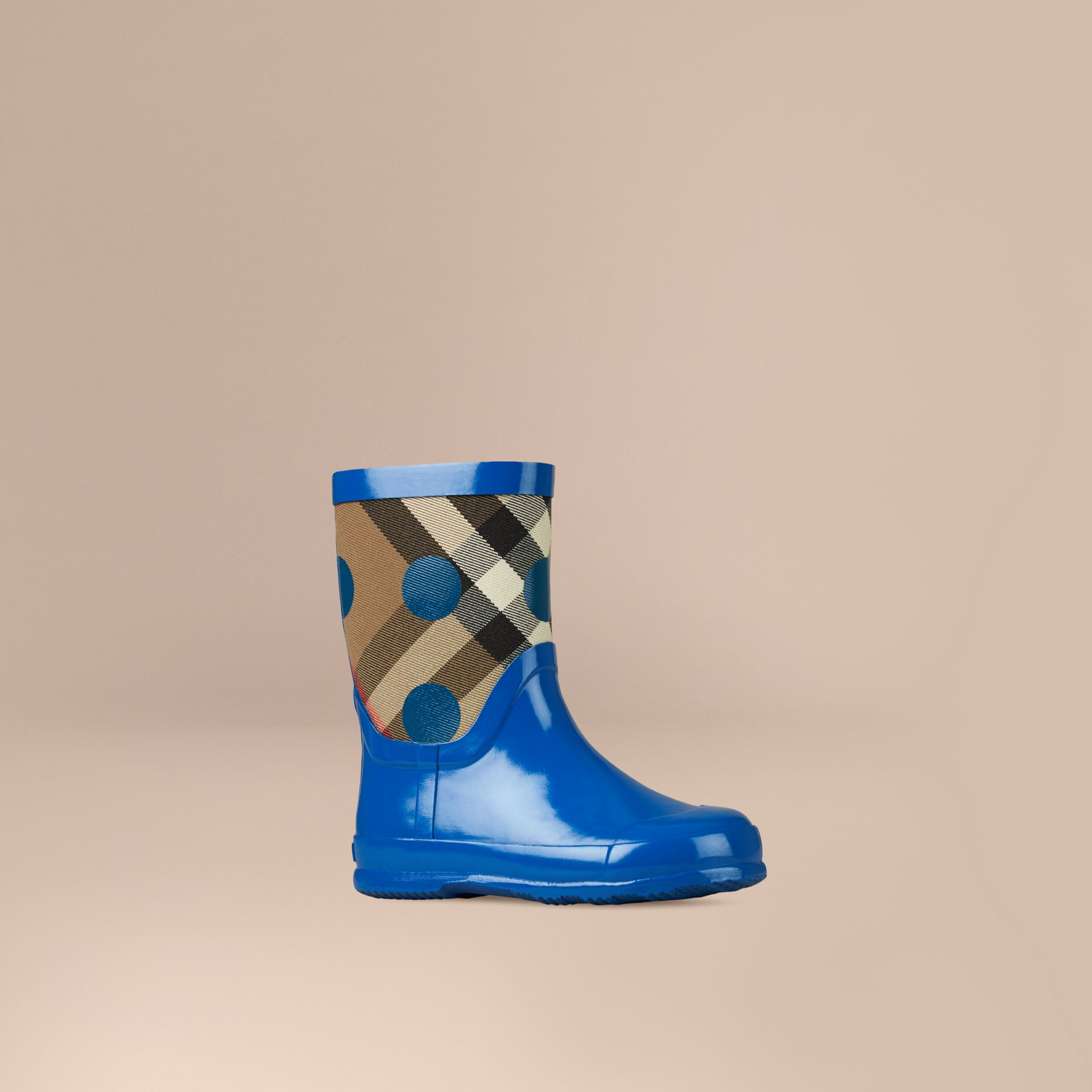 Lupin blue Check and Dot Print Rain Boots - gallery image 1