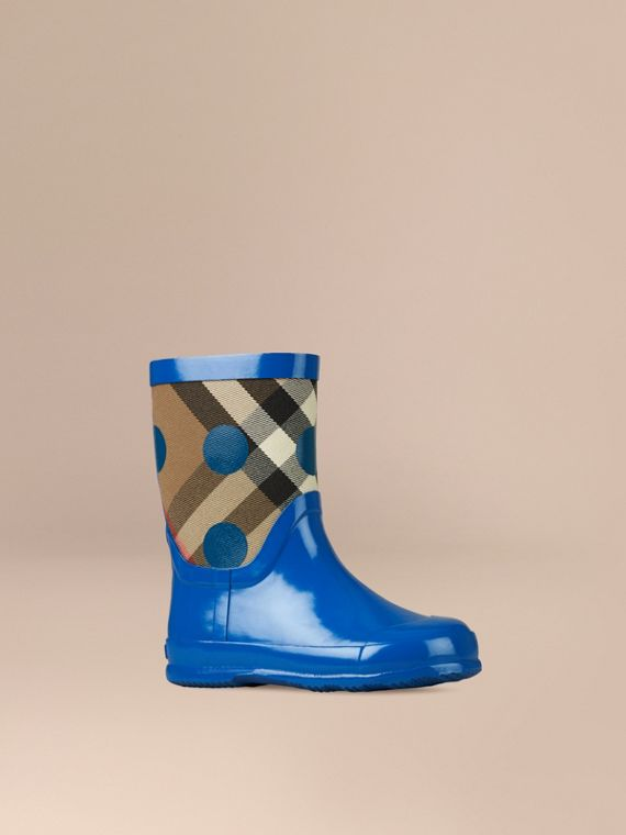 Check and Dot Print Rain Boots