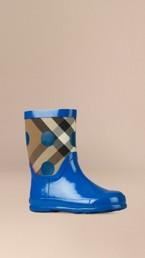 Check and Dot Print Rain Boots