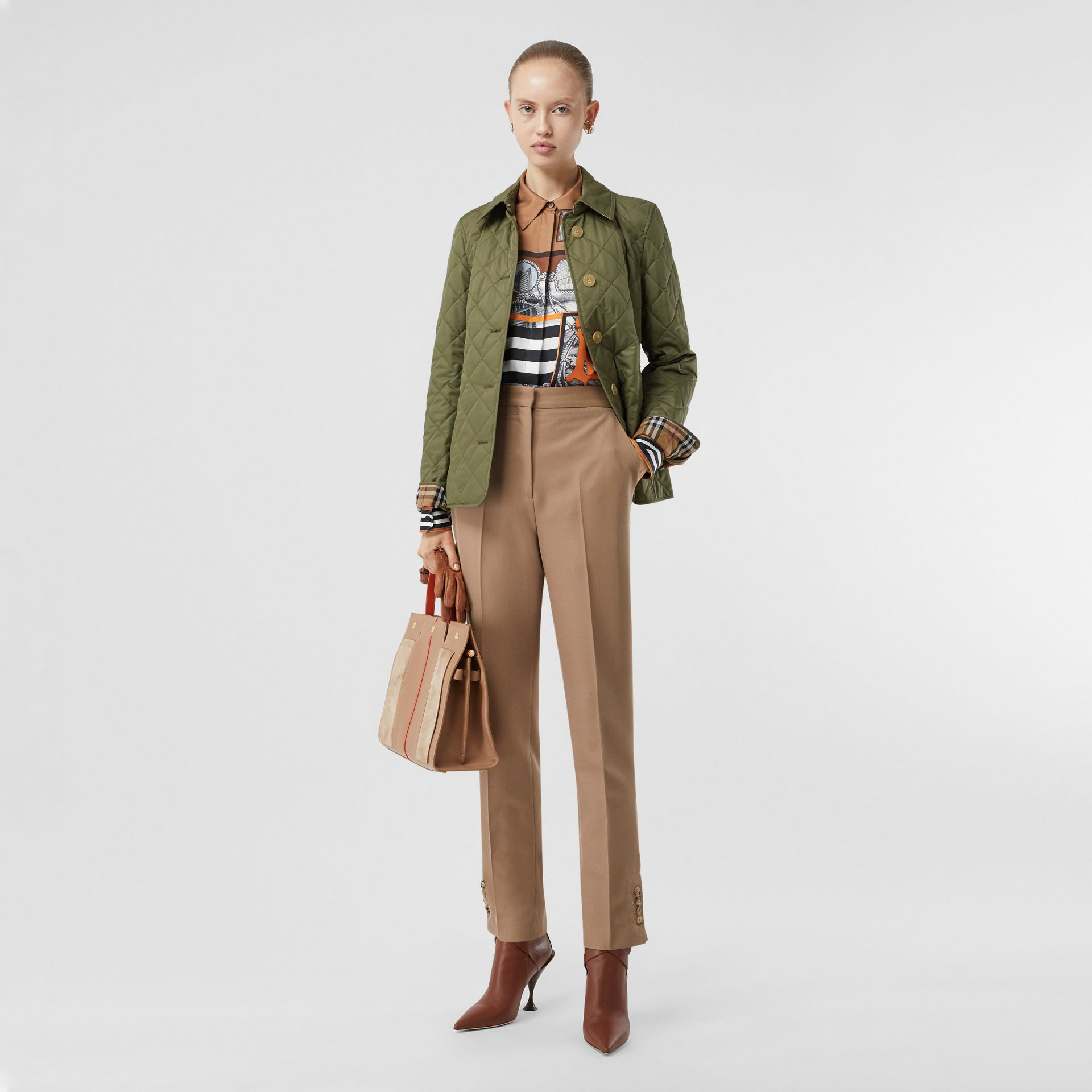 Diamond Quilted Jacket in Olive Green - Women | Burberry - gallery image 0