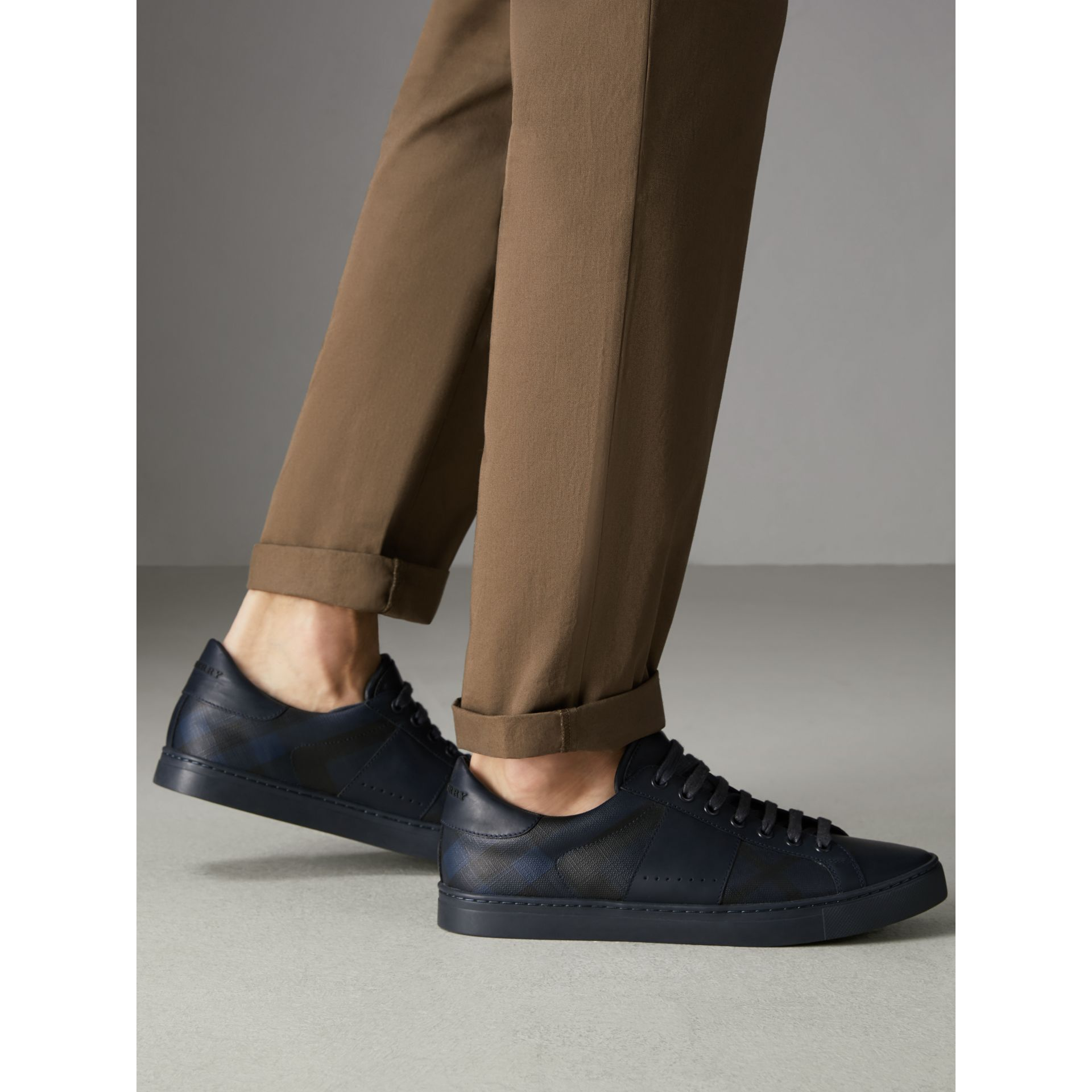 London Check and Leather Sneakers in Navy - Men | Burberry United Kingdom - gallery image 2