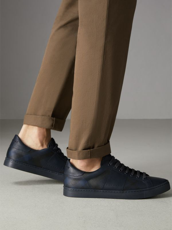 London Check and Leather Sneakers in Navy - Men | Burberry Australia - cell image 2