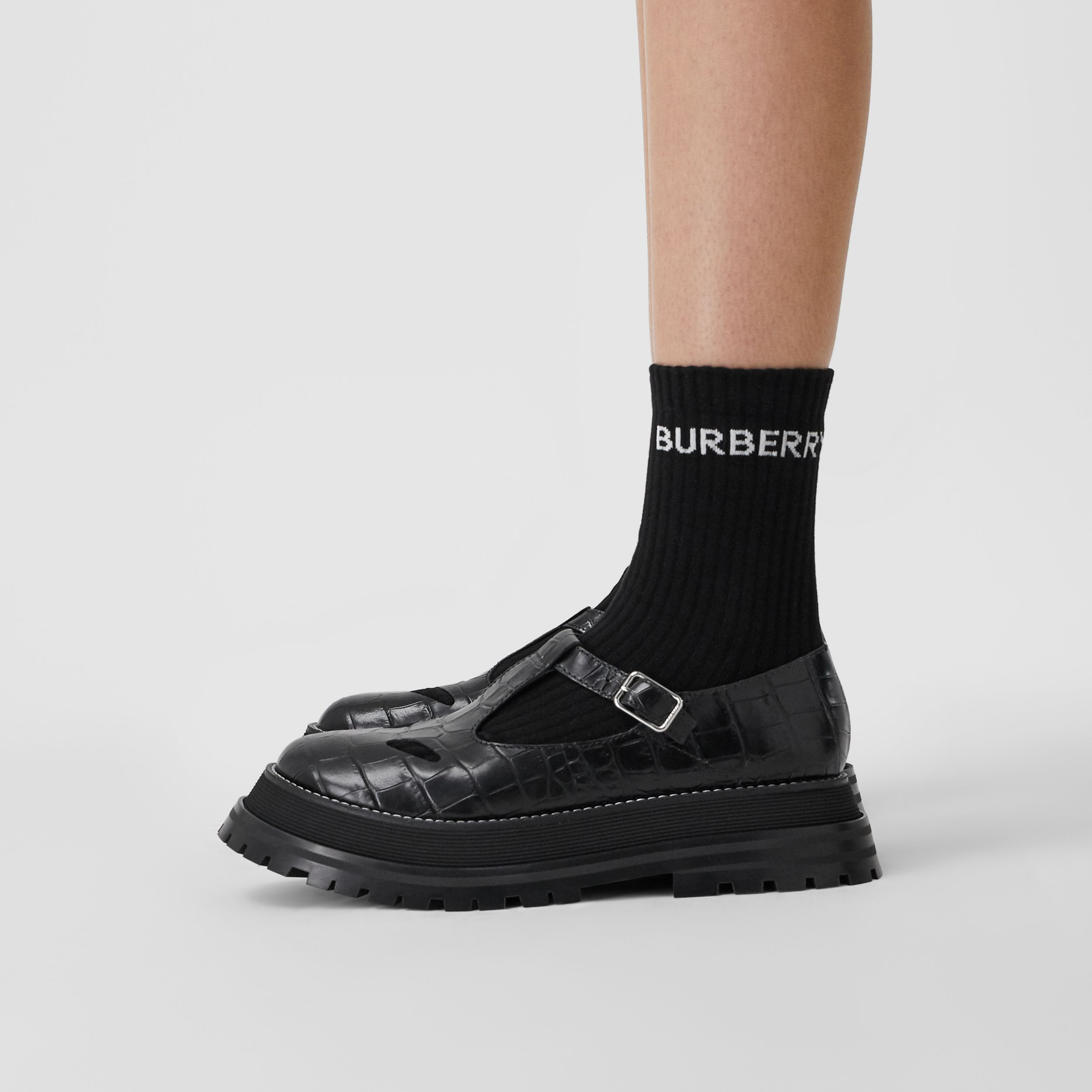 Embossed Leather T-bar Shoes in Black - Women | Burberry - 3