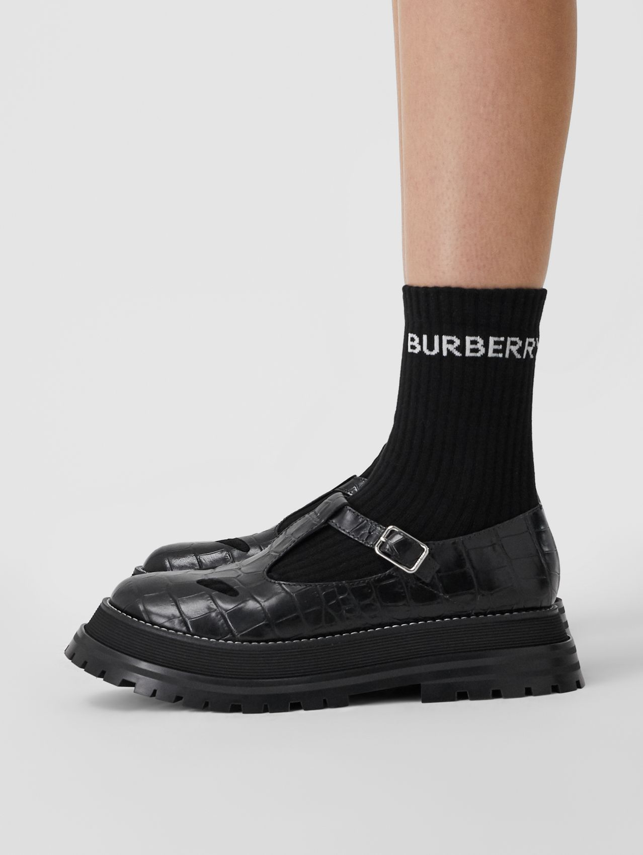 Embossed Leather T-bar Shoes in Black