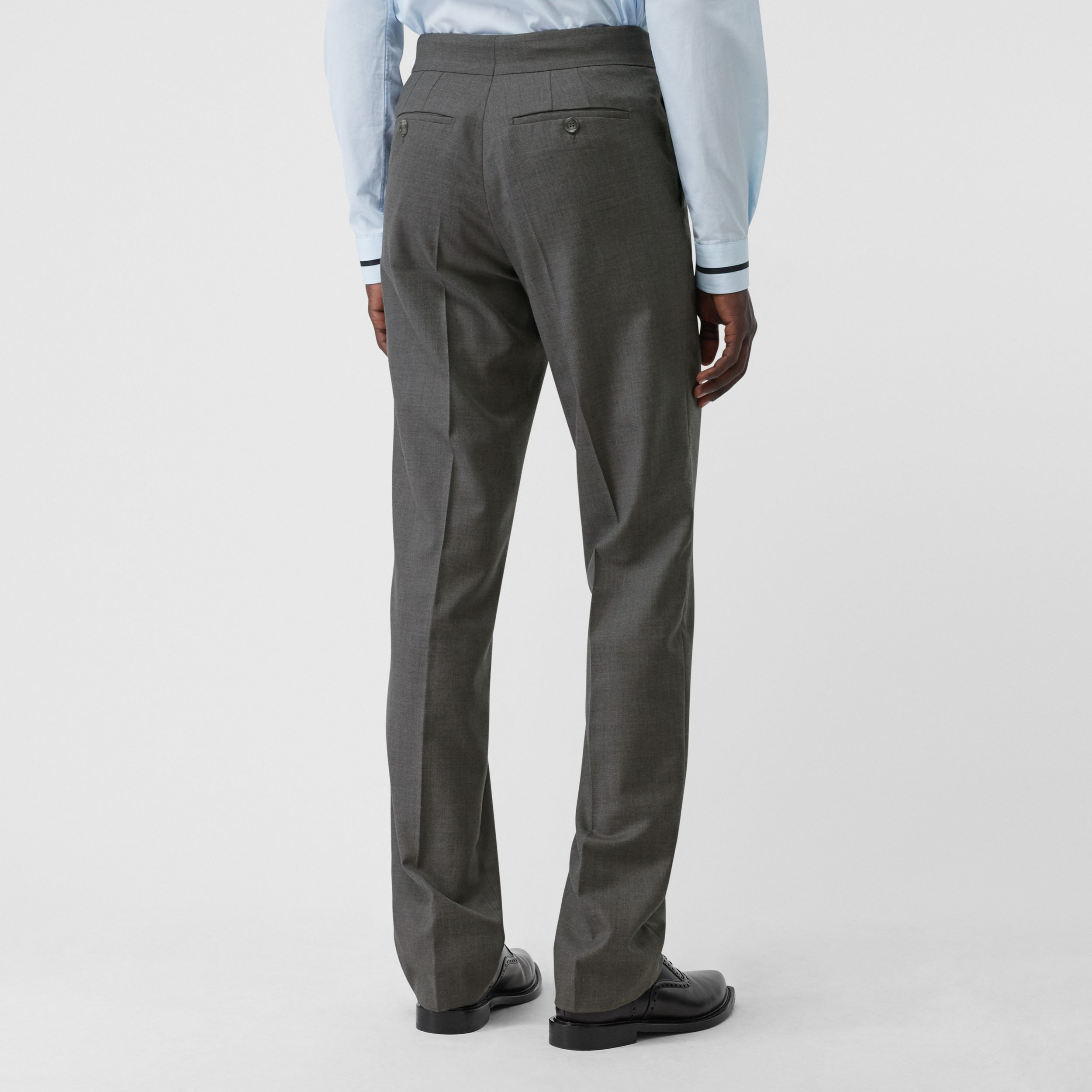 English Fit Belt Detail Wool Tailored Trousers in Charcoal Grey - Men | Burberry - 3