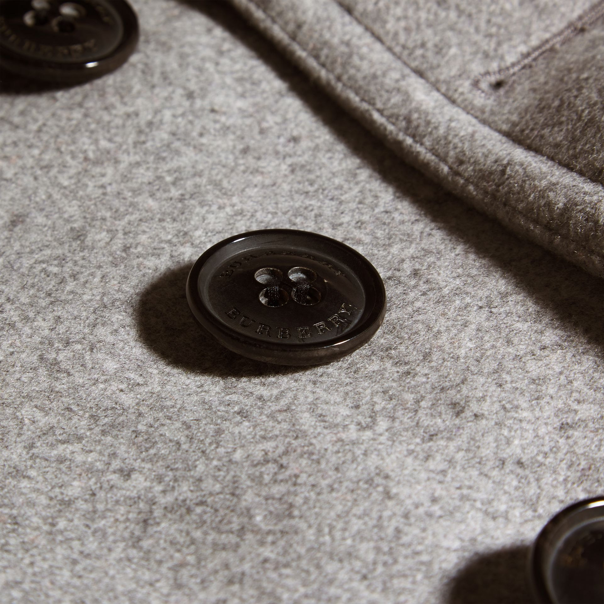 Wool Cashmere Pea Coat in Pale Grey Melange - gallery image 2