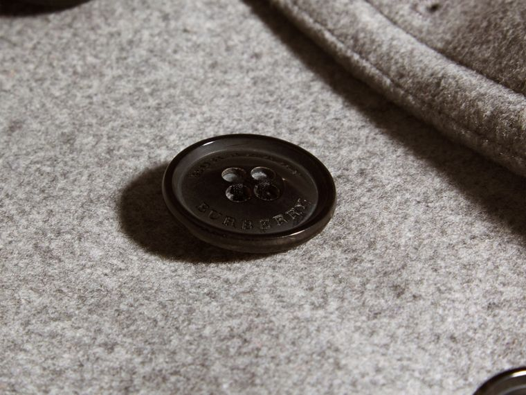 Wool Cashmere Pea Coat in Pale Grey Melange - cell image 1