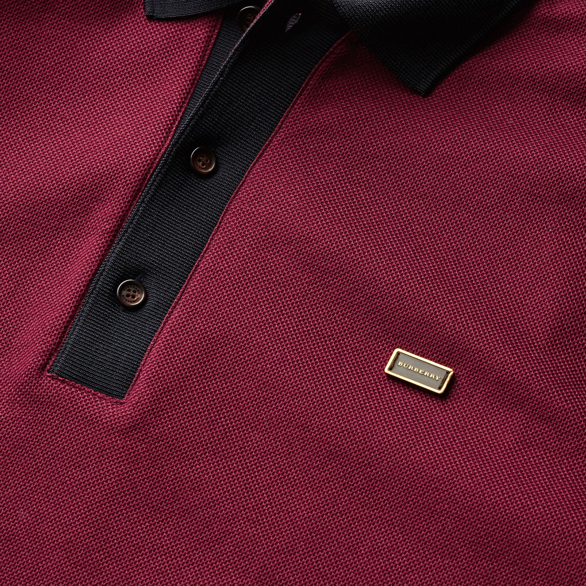 Boysenberry/navy Long-sleeved Cotton Piqué Polo Shirt Boysenberry/navy - gallery image 2