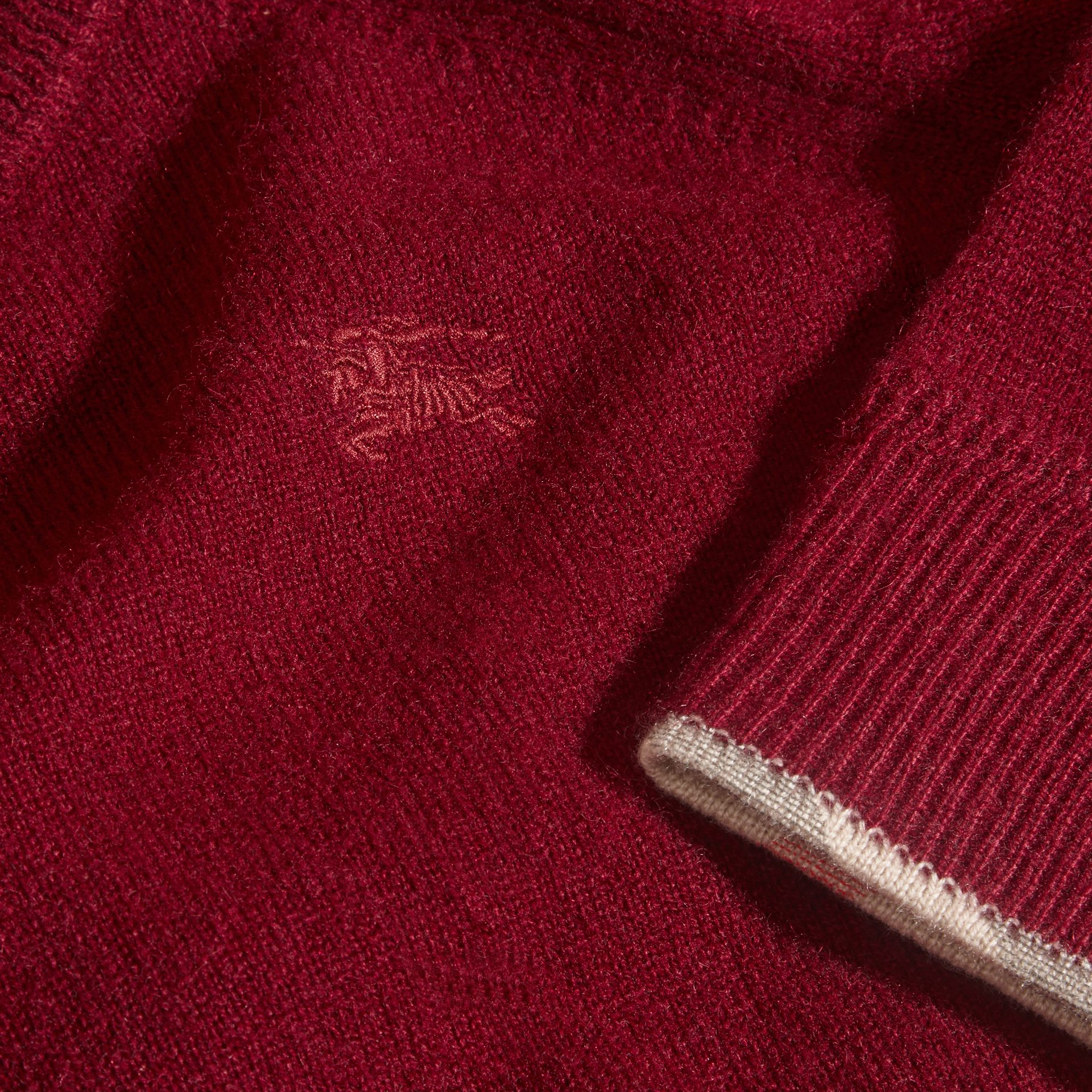 Mahogany red Check Cuff Cashmere Sweater Mahogany Red - gallery image 2