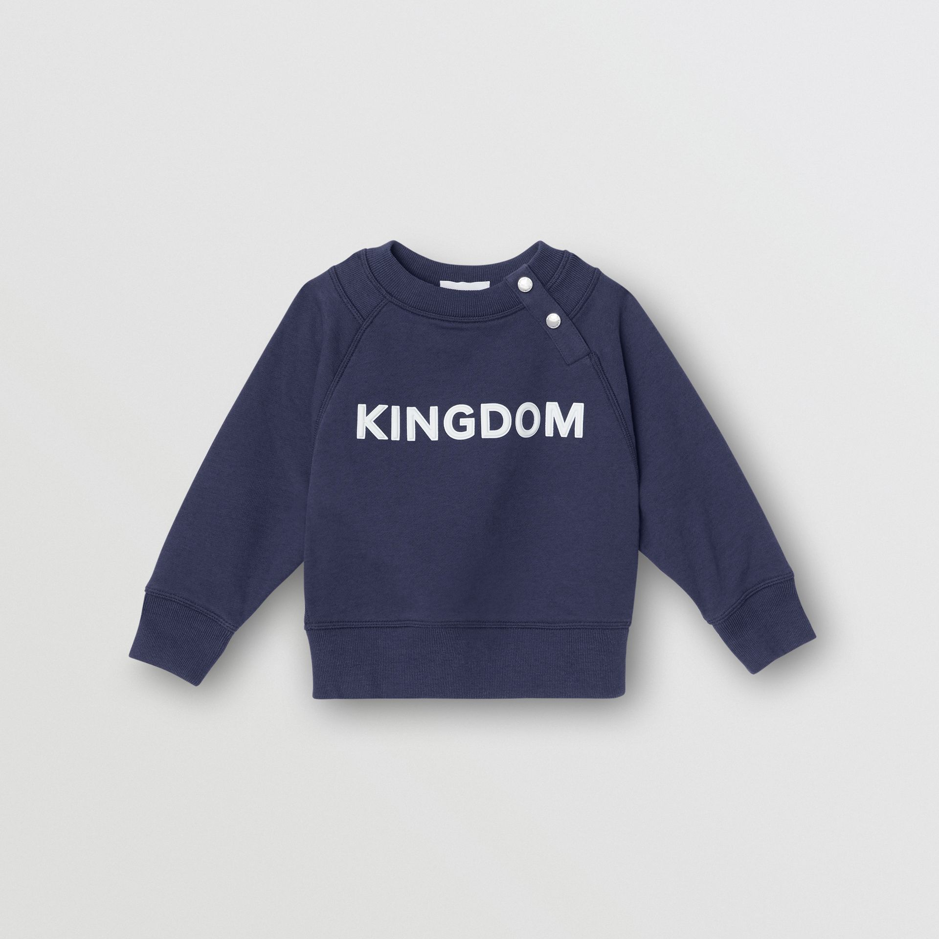Kingdom Motif Cotton Sweatshirt in Slate Blue Melange - Children | Burberry Australia - gallery image 0