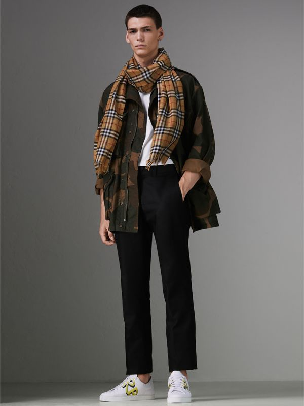Vintage Check Lightweight Wool Silk Scarf in Antique Yellow | Burberry - cell image 3