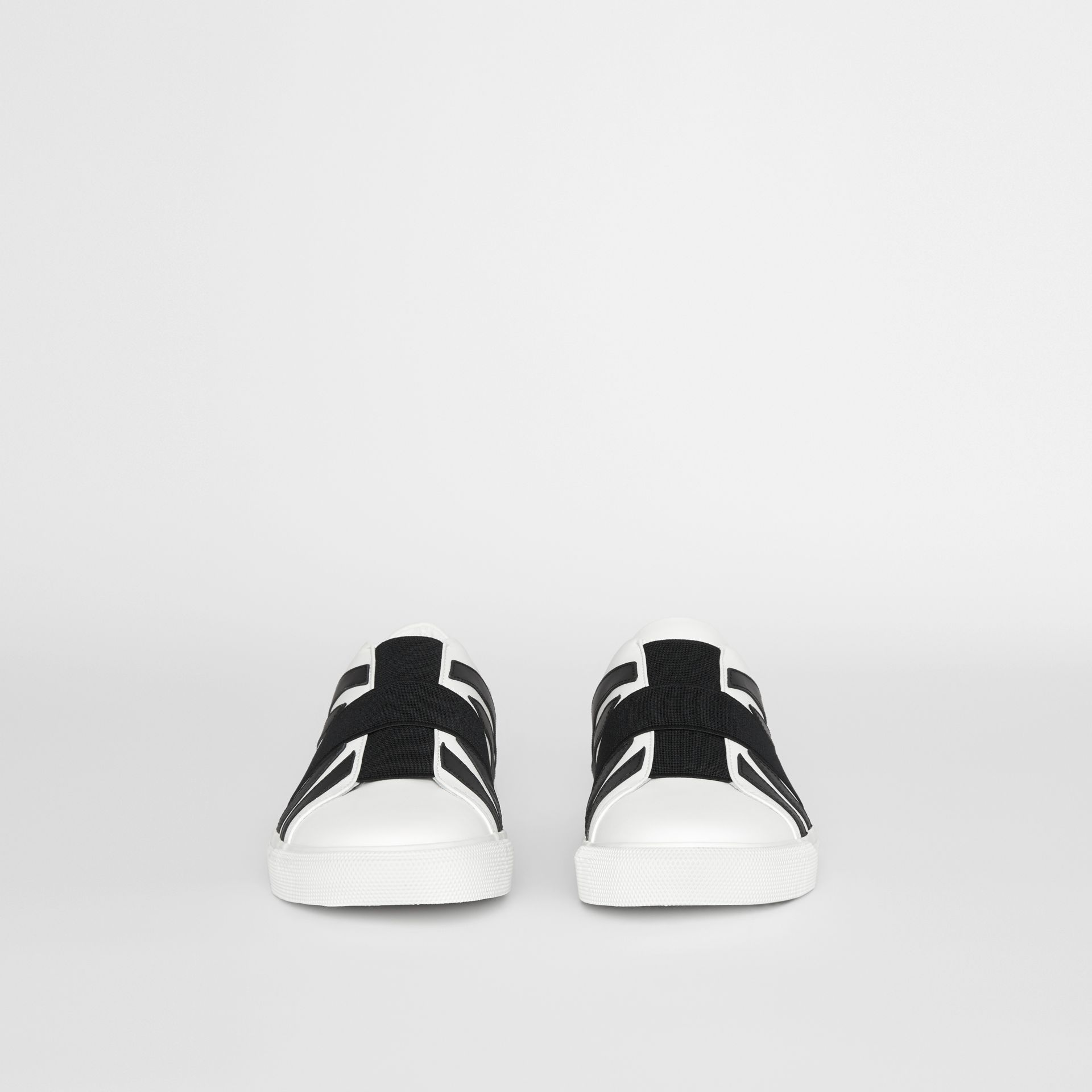 Union Jack Motif Slip-on Sneakers in White - Men | Burberry - gallery image 3