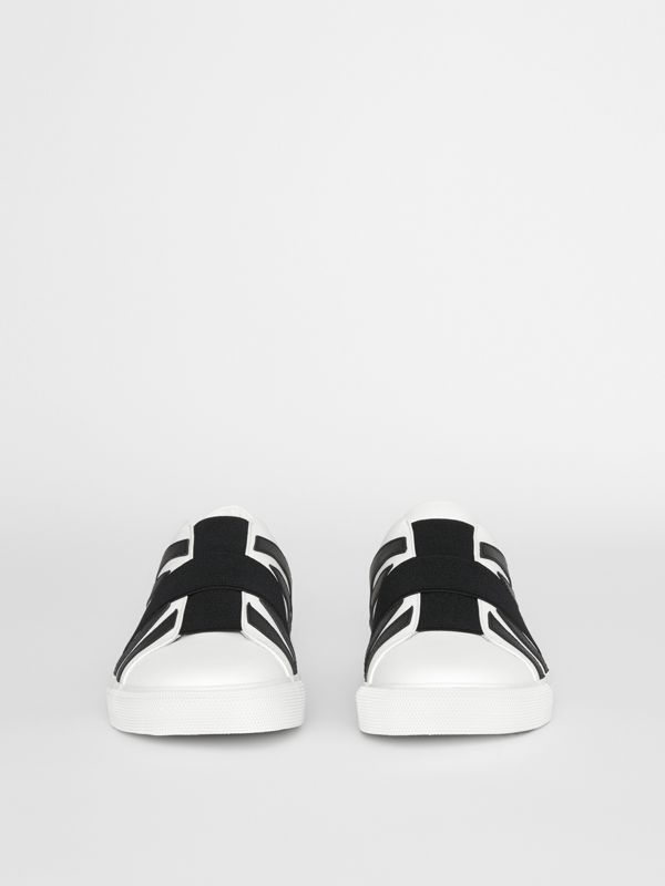 Union Jack Motif Slip-on Sneakers in White - Men | Burberry - cell image 3