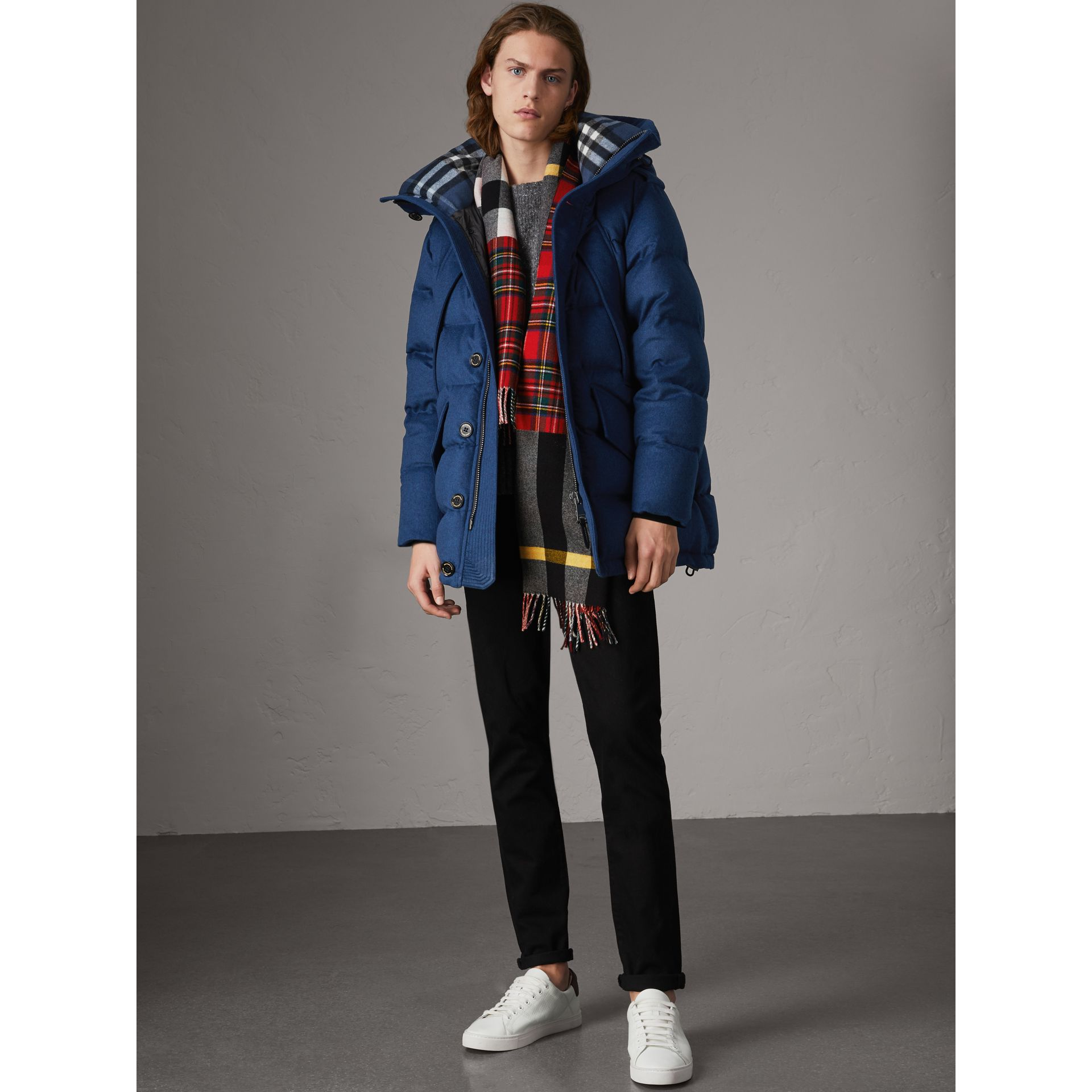 Down-filled Cashmere Hooded Parka in Teal Blue Melange - Men | Burberry United Kingdom - gallery image 5