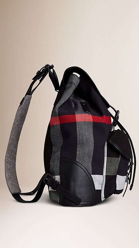 Navy Canvas Check Backpack - Image 4