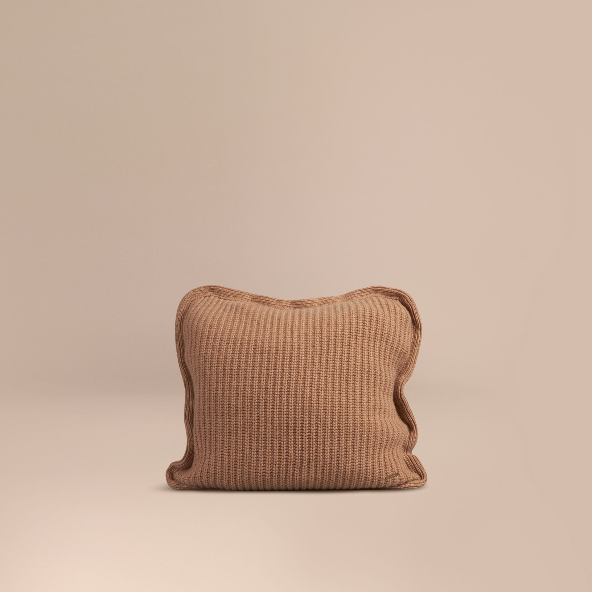 Camel Knitted Cashmere Cushion Cover Camel - gallery image 1
