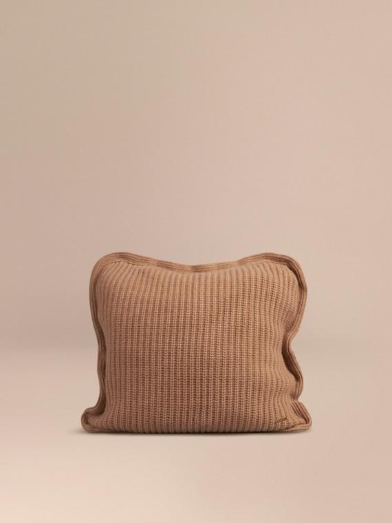 Copricuscino in cashmere lavorato a maglia Cammello