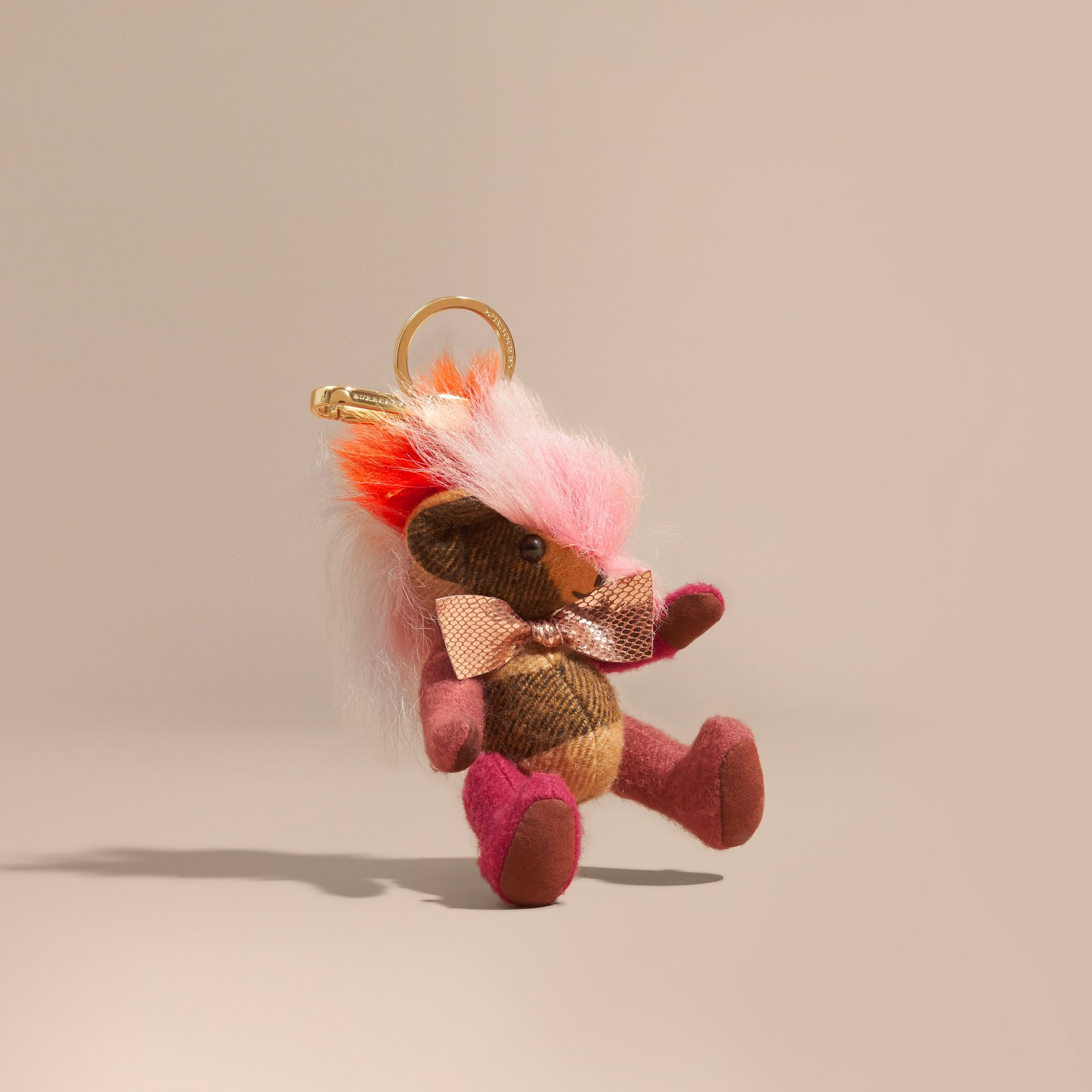 Thomas Bear Charm with Rainbow Shearling Trim in Ash Rose - Women | Burberry - gallery image 0