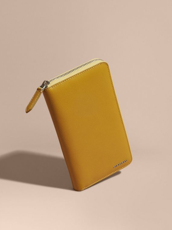 London Leather Ziparound Wallet Larch Yellow