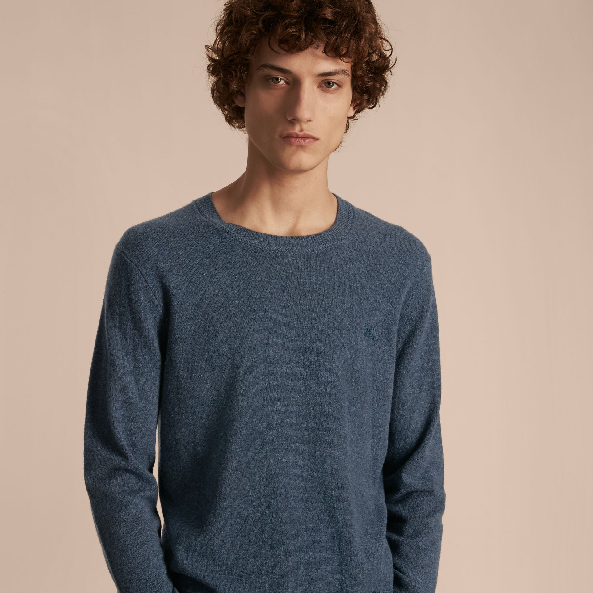 Crew Neck Cashmere Sweater Airforce Blue - gallery image 6