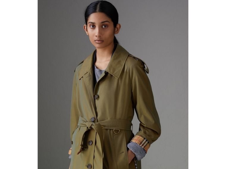 Side-slit Tropical Gabardine Trench Coat in Bright Olive - Women | Burberry - cell image 4