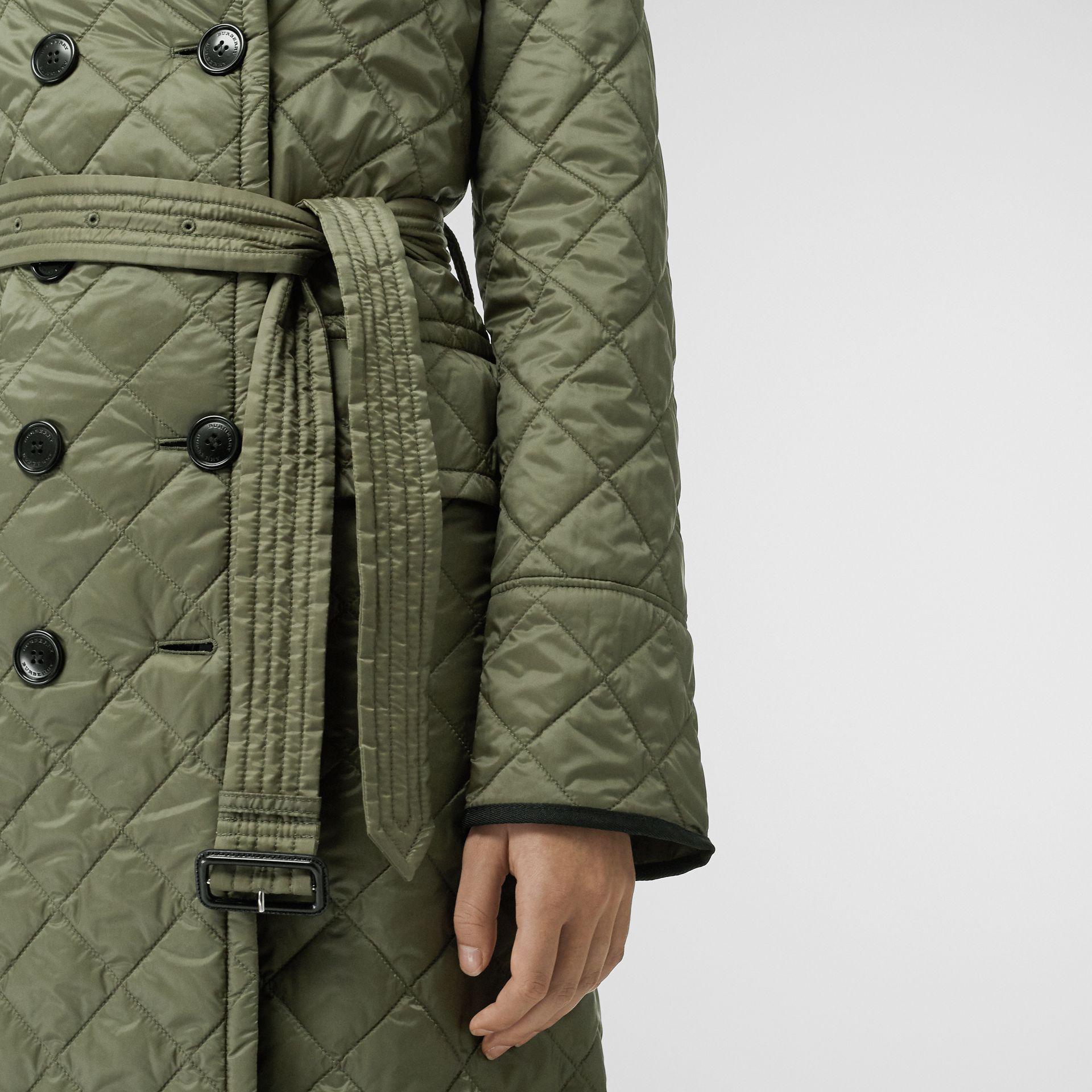 Lightweight Diamond Quilted Coat in Cadet Green - Women | Burberry - gallery image 4