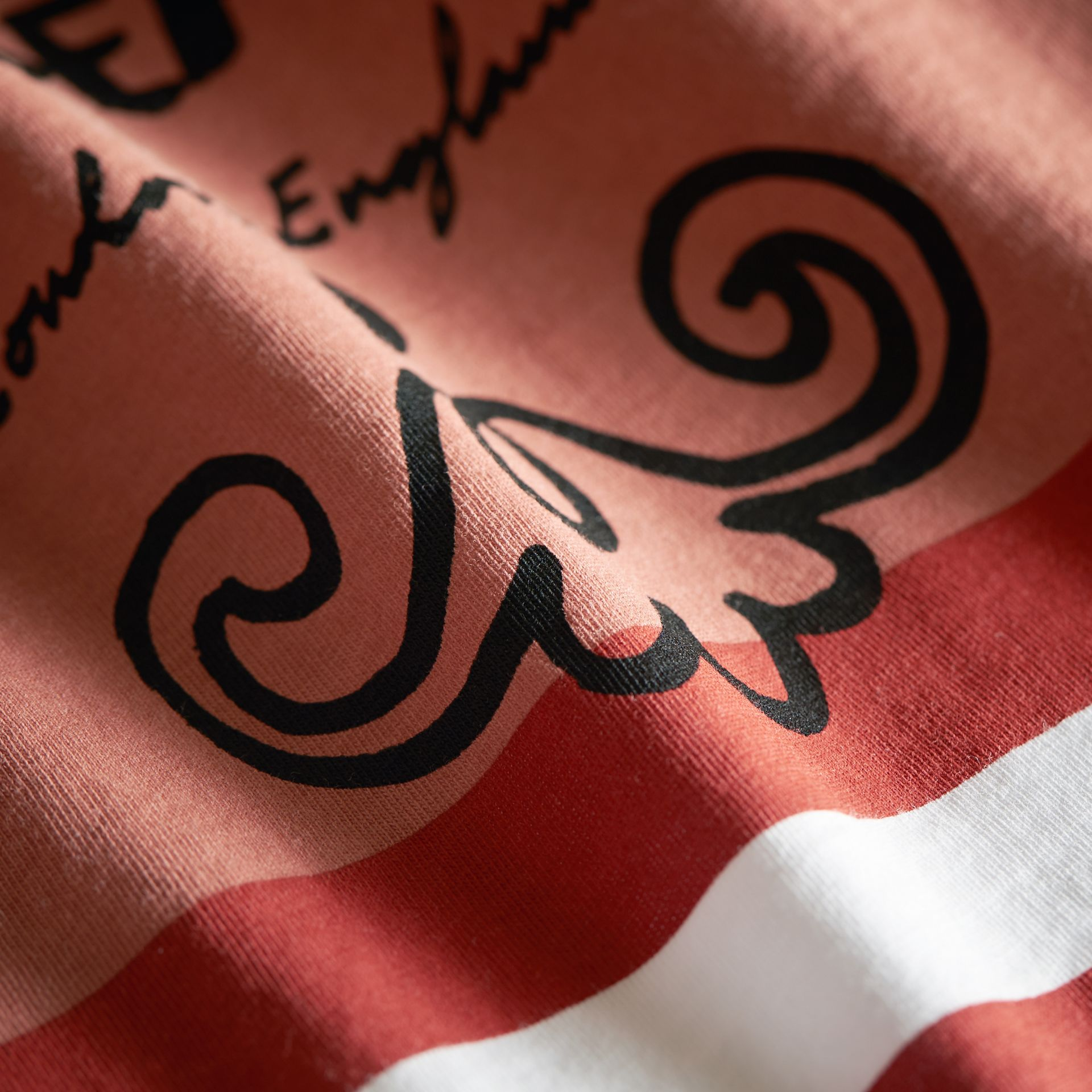 Bearded Gent Print Striped Cotton T-shirt in Pale Cinnamon - Boy | Burberry - gallery image 2