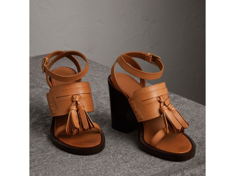 Tasselled Leather Block-heel Sandals in Amber - Women | Burberry - cell image 4