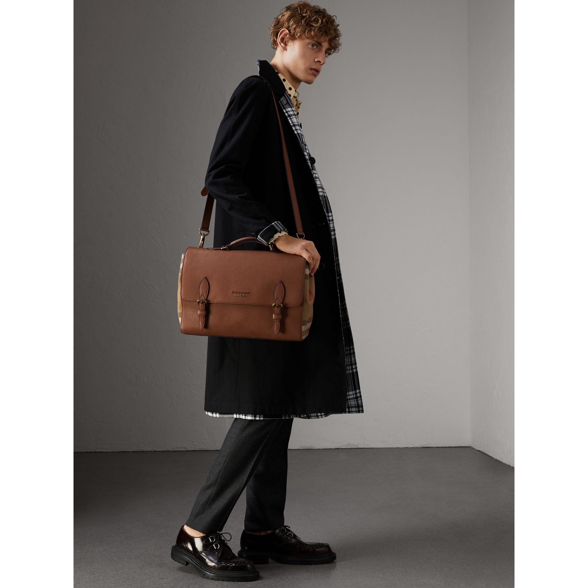 Leather and House Check Satchel in Chestnut Brown - Men | Burberry - gallery image 3