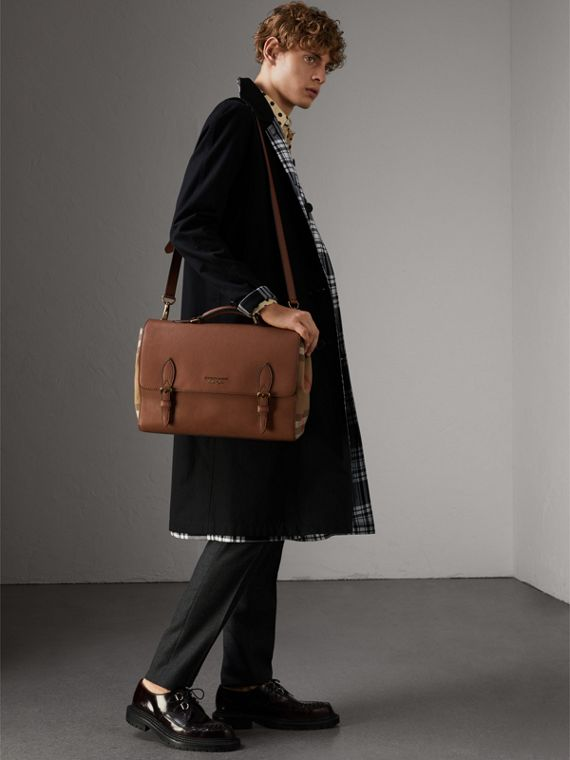 Leather and House Check Satchel in Chestnut Brown - Men | Burberry Hong Kong - cell image 3