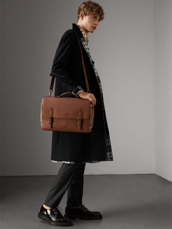 Leather and House Check Satchel in Chestnut Brown - Men | Burberry - cell image 3