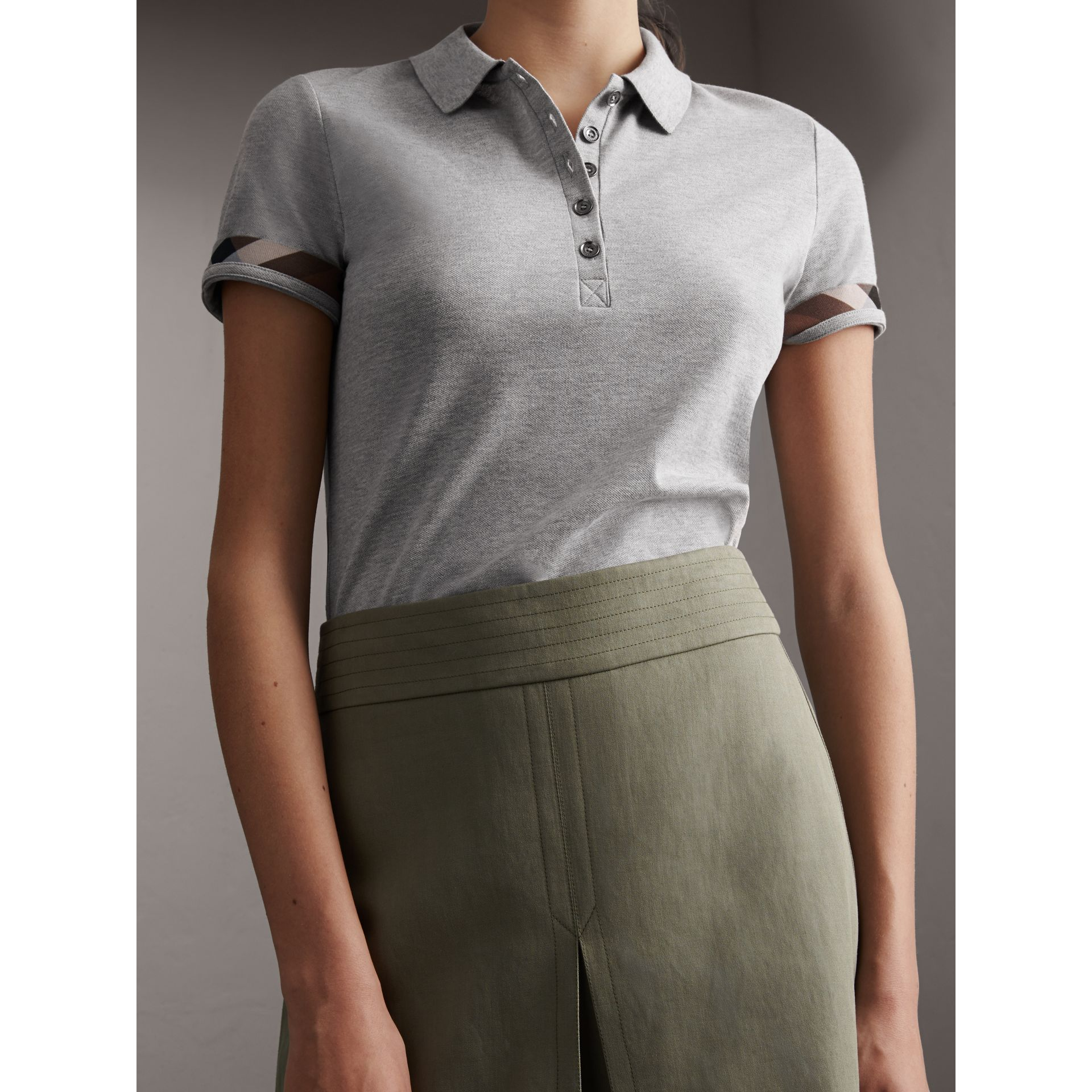 Check Trim Stretch Cotton Piqué Polo Shirt in Pale Grey Melange - Women | Burberry - gallery image 7
