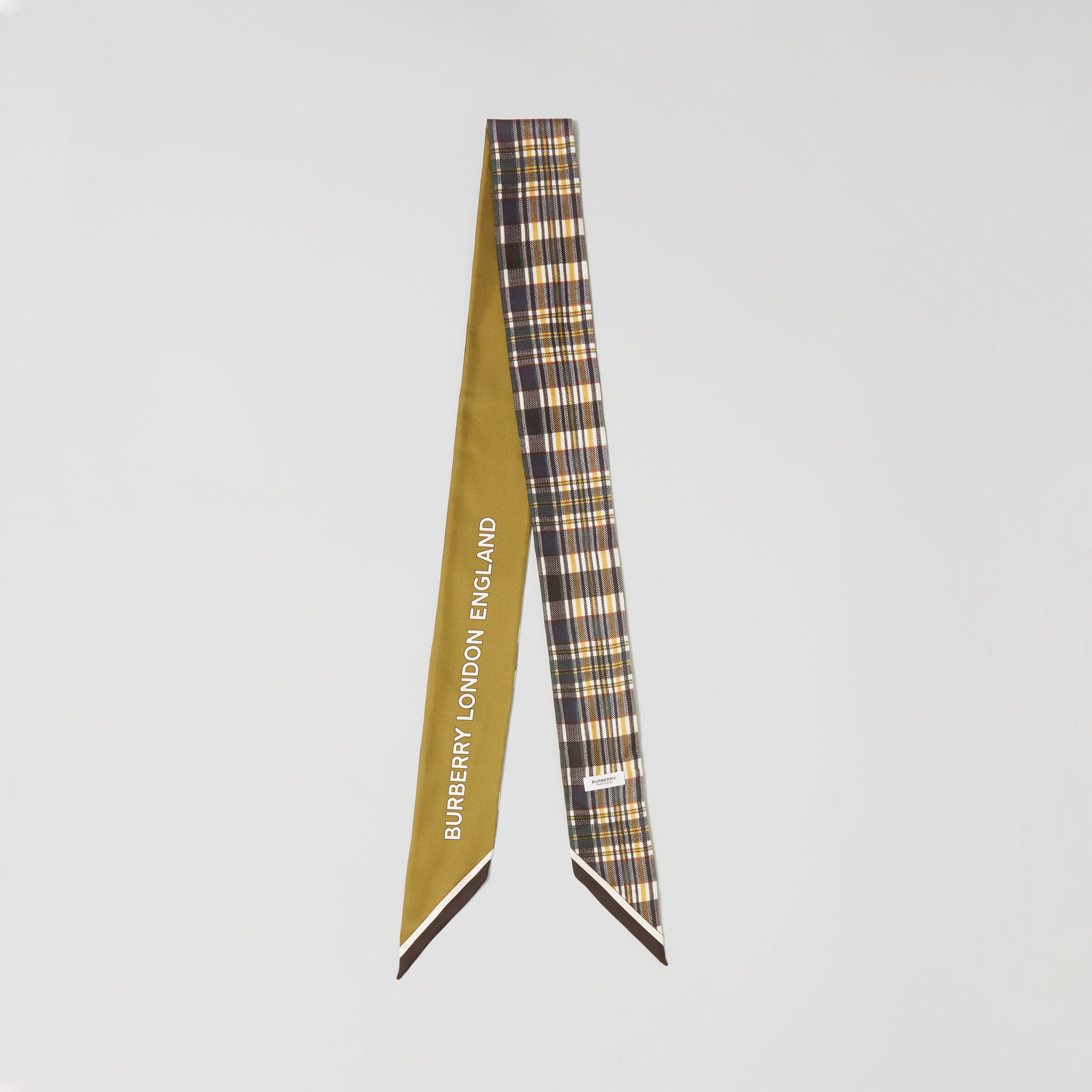 Check and Logo Print Silk Skinny Scarf in Juniper Green | Burberry - 1