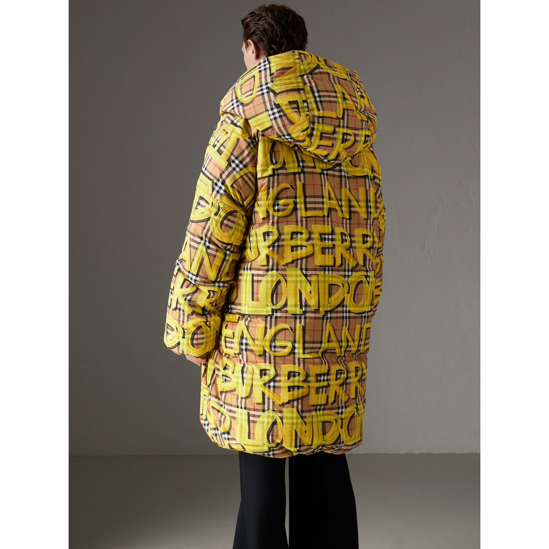 Graffiti Vintage Check Down-filled Puffer Coat in Bright Yellow | Burberry Australia - gallery image 2